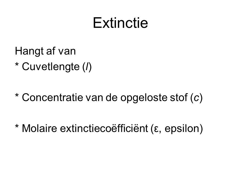 De wet van Lambert-Beer Formule: E = ε ·c·l E extinctie (geen eenheid) ε molaire extinctiecoefficient (l.mol -1.cm -1 ) (BINAS) c concentratie (mol.l -1 ) l cuvetlengte (cm)