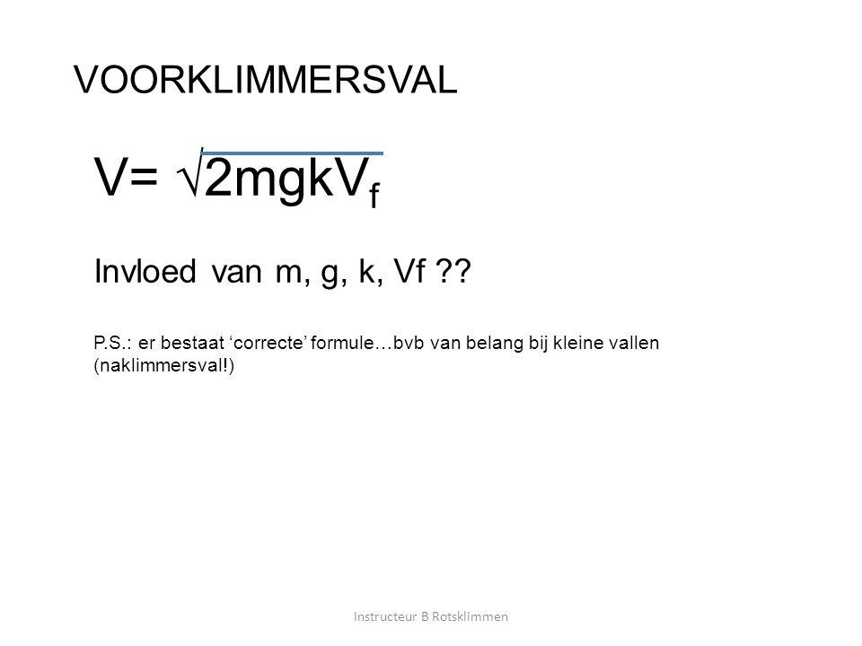 VOORKLIMMERSVAL V= √2mgkV f Invloed van m, g, k, Vf ?? P.S.: er bestaat 'correcte' formule…bvb van belang bij kleine vallen (naklimmersval!) Instructe