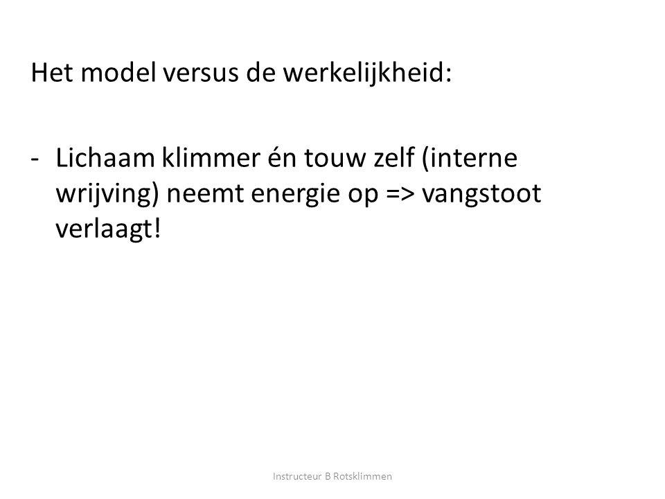Het model versus de werkelijkheid: -Lichaam klimmer én touw zelf (interne wrijving) neemt energie op => vangstoot verlaagt! Instructeur B Rotsklimmen