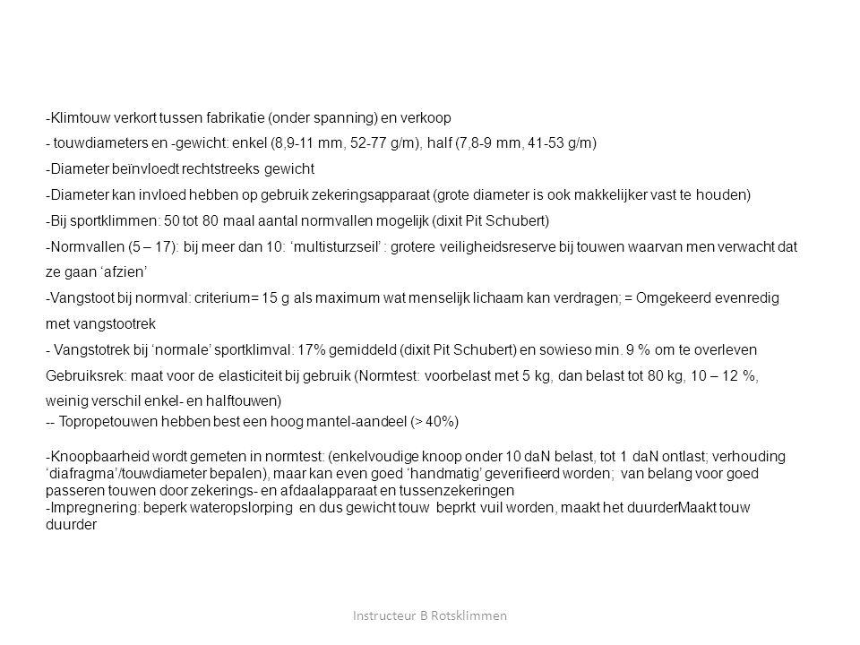 Instructeur B Rotsklimmen -Klimtouw verkort tussen fabrikatie (onder spanning) en verkoop - touwdiameters en -gewicht: enkel (8,9-11 mm, 52-77 g/m), h