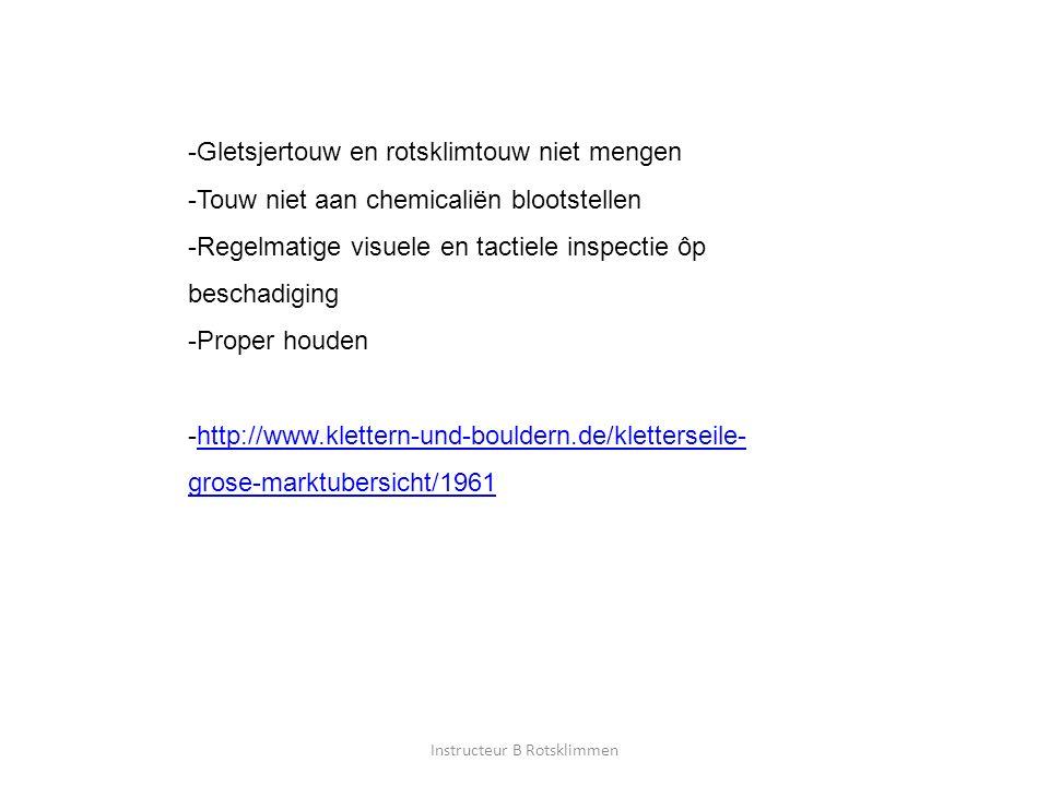 Instructeur B Rotsklimmen -Gletsjertouw en rotsklimtouw niet mengen -Touw niet aan chemicaliën blootstellen -Regelmatige visuele en tactiele inspectie