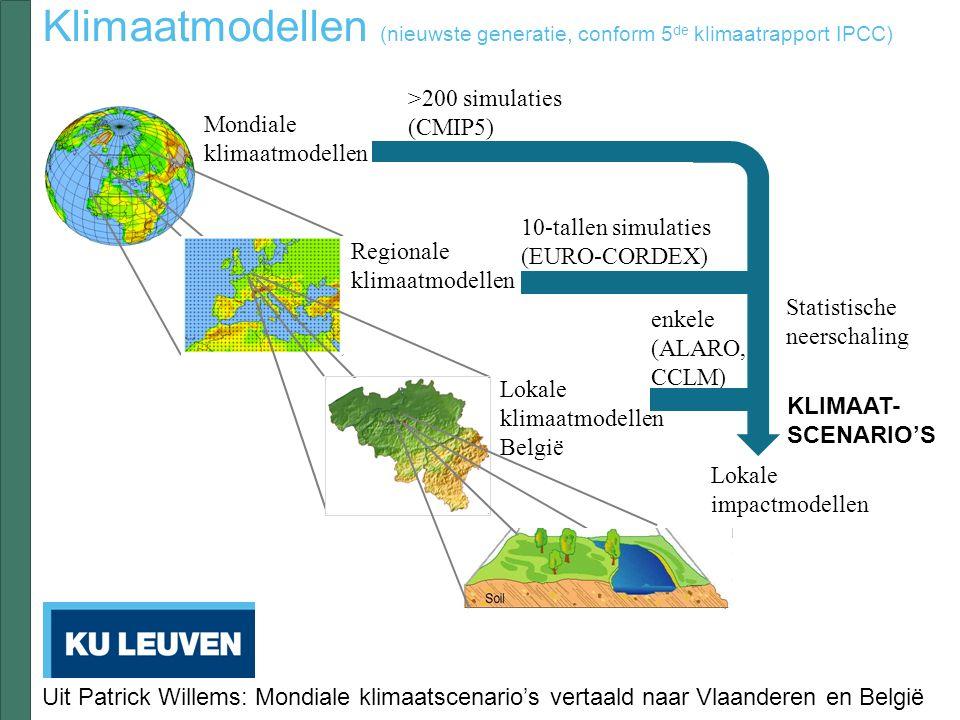 >200 simulaties (CMIP5) Mondiale klimaatmodellen 10-tallen simulaties (EURO-CORDEX) Regionale klimaatmodellen KLIMAAT- SCENARIO'S enkele (ALARO, CCLM) Klimaatmodellen (nieuwste generatie, conform 5 de klimaatrapport IPCC) Lokale klimaatmodellen België Lokale impactmodellen Statistische neerschaling Uit Patrick Willems: Mondiale klimaatscenario's vertaald naar Vlaanderen en België