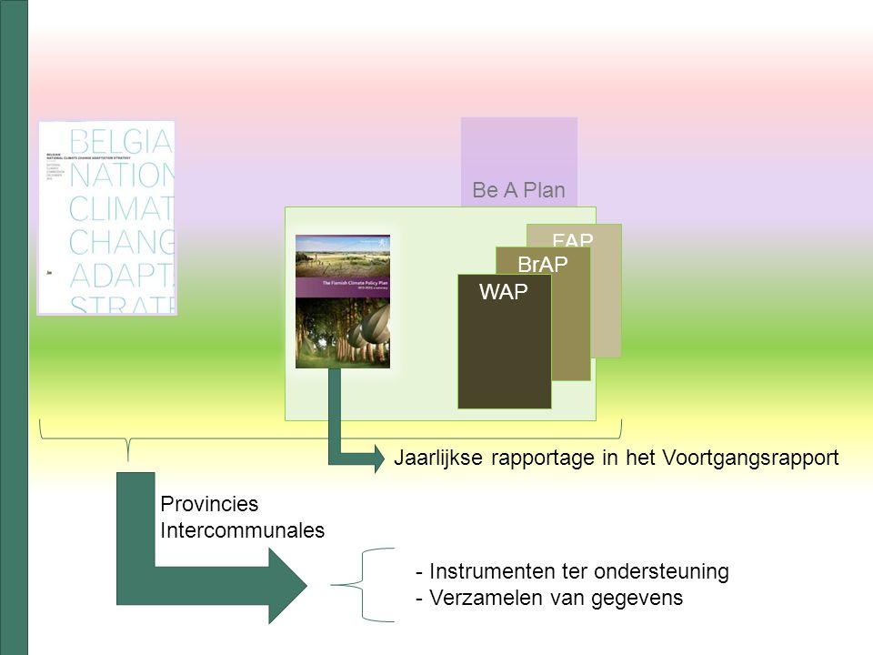 Be A Plan FAP BrAP WAP Provincies Intercommunales - Instrumenten ter ondersteuning - Verzamelen van gegevens Jaarlijkse rapportage in het Voortgangsrapport