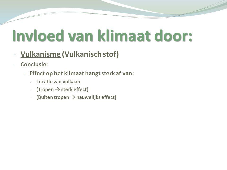 Invloed van klimaat door: - Vulkanisme (Vulkanisch stof) - Conclusie: - Effect op het klimaat hangt sterk af van: - Locatie van vulkaan - (Tropen  st
