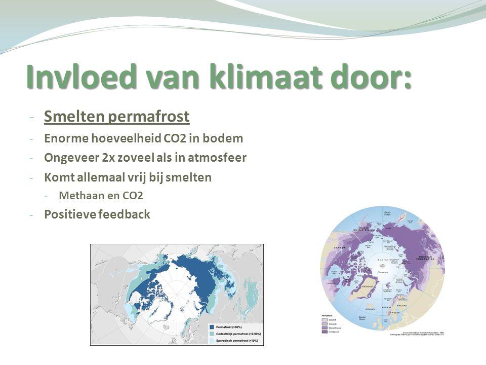 Invloed van klimaat door: - Smelten permafrost - Enorme hoeveelheid CO2 in bodem - Ongeveer 2x zoveel als in atmosfeer - Komt allemaal vrij bij smelte