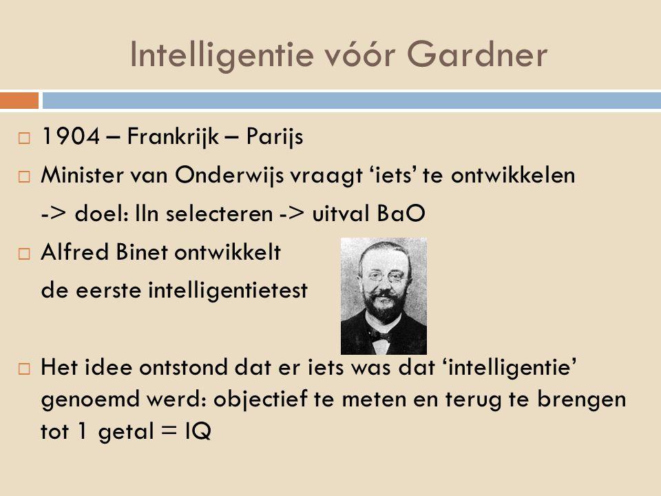 Intelligentie vóór Gardner  1904 – Frankrijk – Parijs  Minister van Onderwijs vraagt 'iets' te ontwikkelen -> doel: lln selecteren -> uitval BaO  A