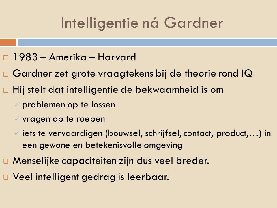 Intelligentie ná Gardner  1983 – Amerika – Harvard  Gardner zet grote vraagtekens bij de theorie rond IQ  Hij stelt dat intelligentie de bekwaamhei