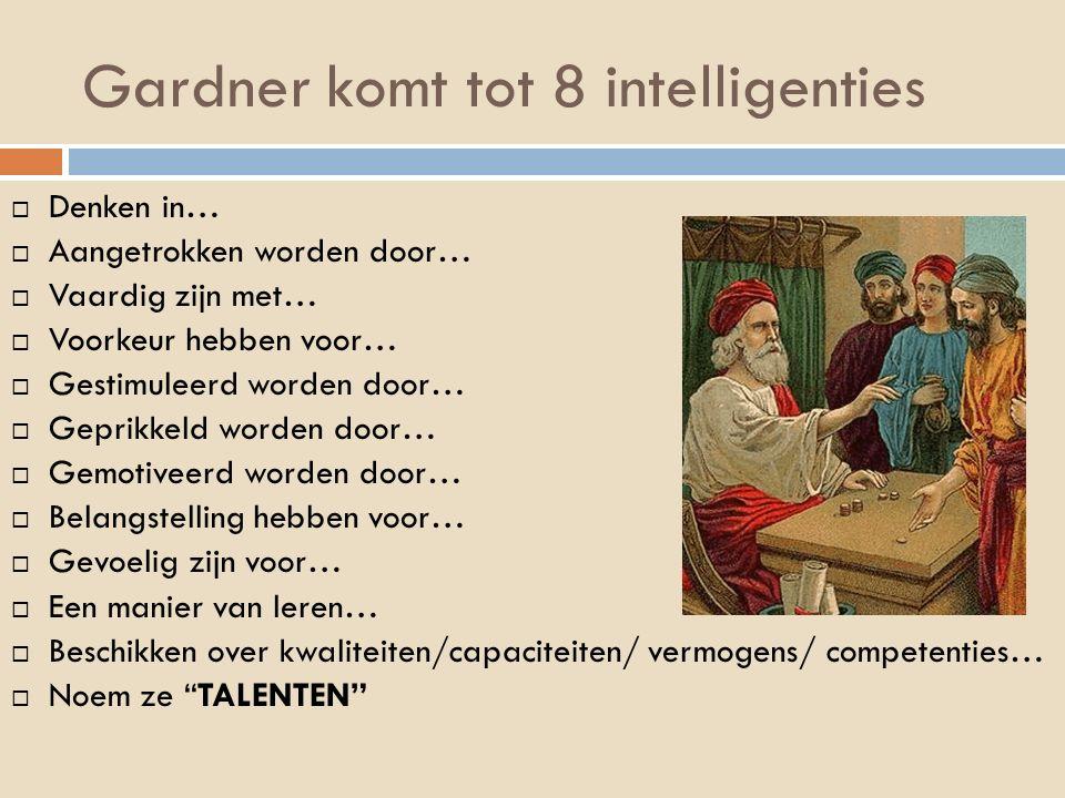Gardner komt tot 8 intelligenties  Denken in…  Aangetrokken worden door…  Vaardig zijn met…  Voorkeur hebben voor…  Gestimuleerd worden door…  G