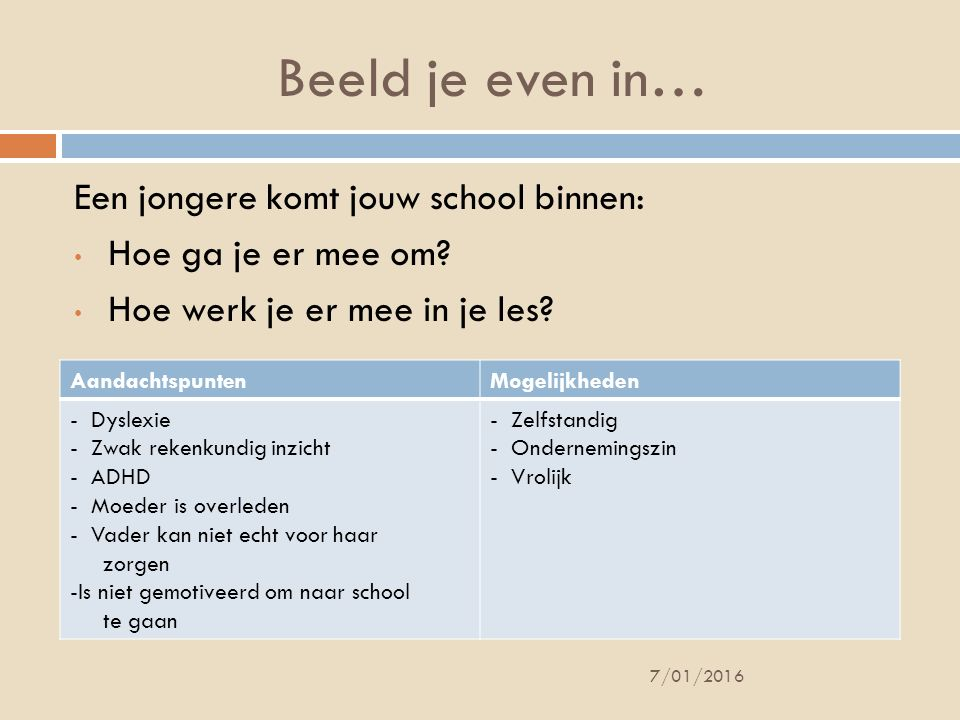 Beeld je even in… Een jongere komt jouw school binnen: Hoe ga je er mee om? Hoe werk je er mee in je les? 7/01/2016 AandachtspuntenMogelijkheden - Dys