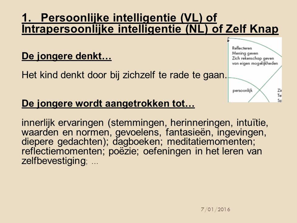 7/01/2016 1. Persoonlijke intelligentie (VL) of Intrapersoonlijke intelligentie (NL) of Zelf Knap De jongere denkt… Het kind denkt door bij zichzelf t