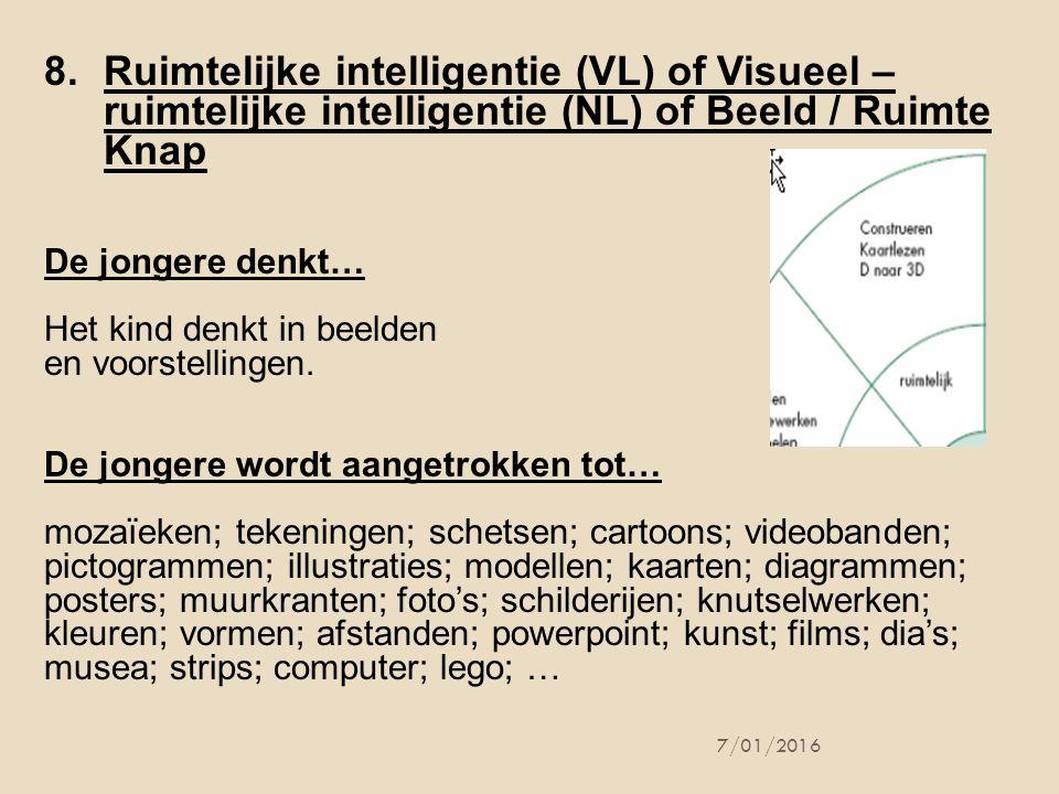 8.Ruimtelijke intelligentie (VL) of Visueel – ruimtelijke intelligentie (NL) of Beeld / Ruimte Knap De jongere denkt… Het kind denkt in beelden en voo
