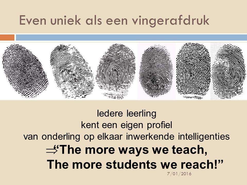 """Even uniek als een vingerafdruk 7/01/2016 Iedere leerling kent een eigen profiel van onderling op elkaar inwerkende intelligenties  """"The more ways we"""