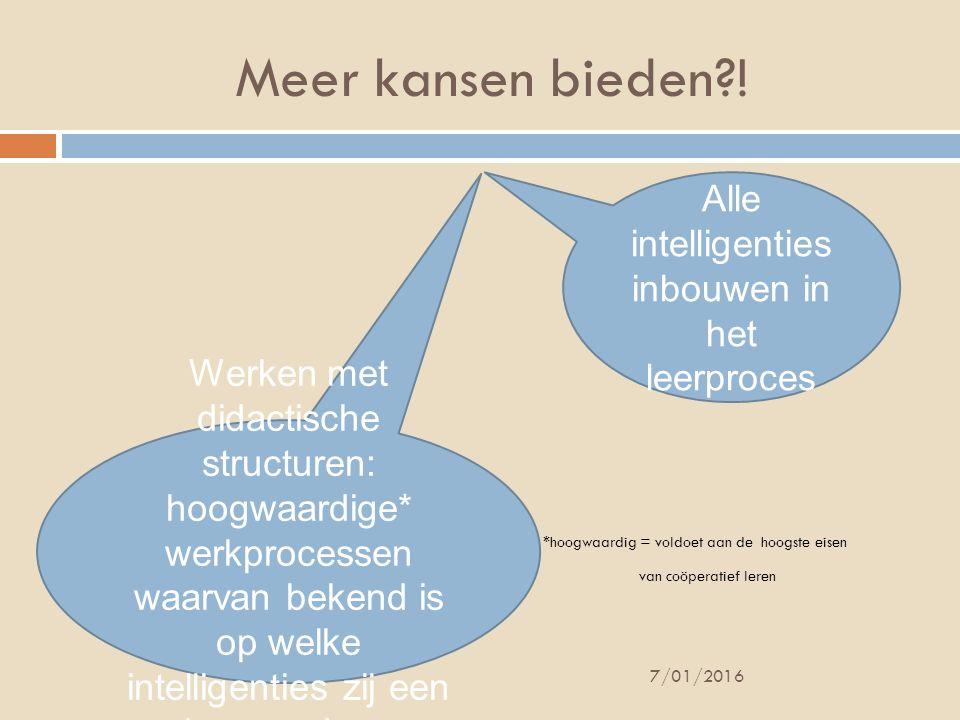 Meer kansen bieden?! *hoogwaardig = voldoet aan de hoogste eisen van coöperatief leren 7/01/2016 Alle intelligenties inbouwen in het leerproces Werken
