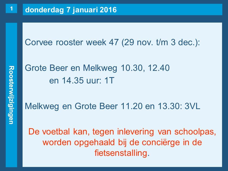 donderdag 7 januari 2016 Roosterwijzigingen Maandag 29 november 1evrij1U, 2K(naar 3e), 2L(naar 2e), 3VC, 3V(Koedood), 3AA.