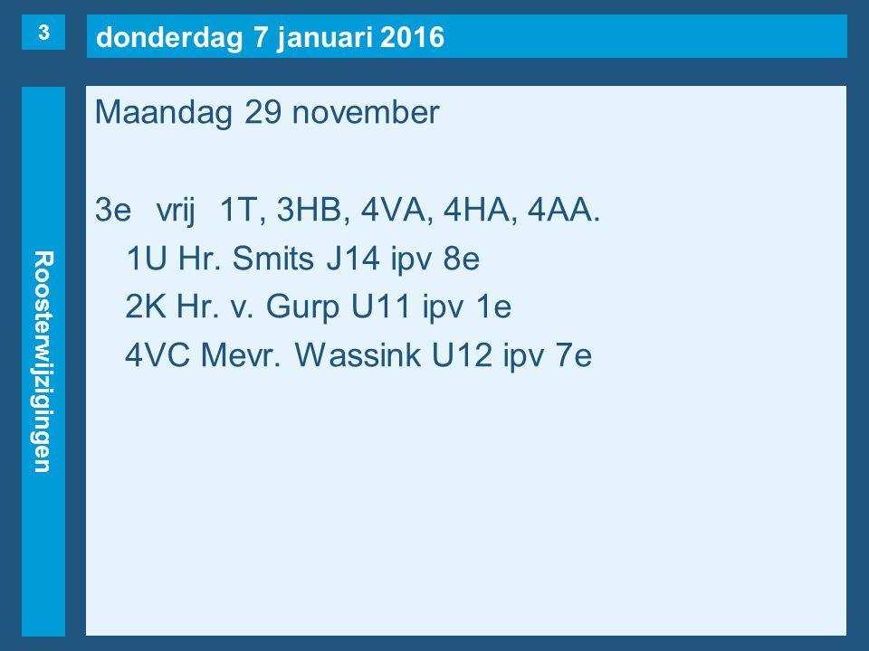 donderdag 7 januari 2016 Roosterwijzigingen Maandag 29 november 4evrij1U, 2F, 4VA, 4VS, 4AA(maar…), 6A(Wessels).