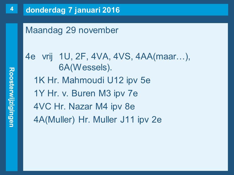 donderdag 7 januari 2016 Roosterwijzigingen Maandag 29 november 5evrij3V(Nüssgens), 4VA, 4VT, 4HA, 5H(Wessels).