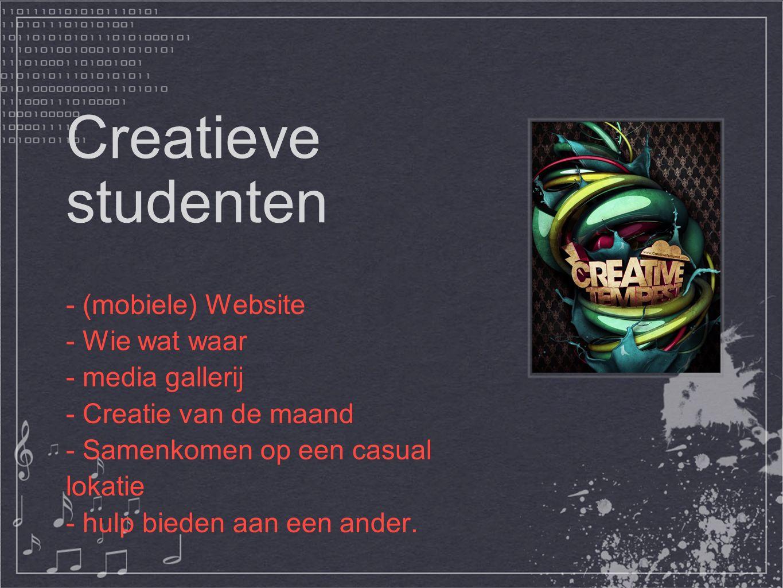 Creatieve studenten - (mobiele) Website - Wie wat waar - media gallerij - Creatie van de maand - Samenkomen op een casual lokatie - hulp bieden aan een ander.