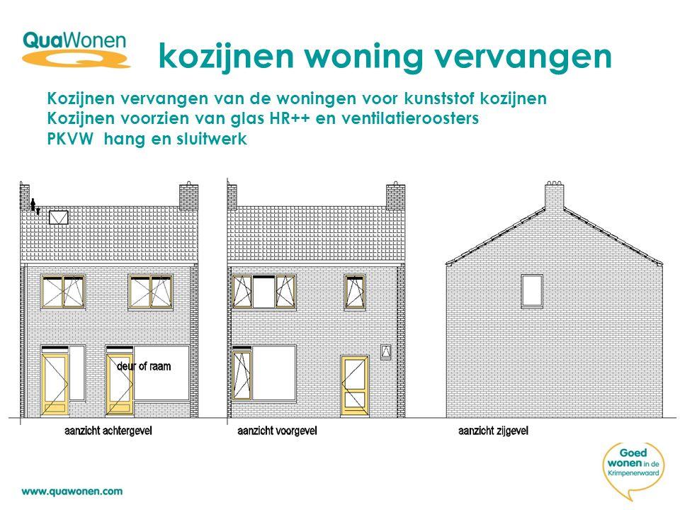 kozijnen woning vervangen Kozijnen vervangen van de woningen voor kunststof kozijnen Kozijnen voorzien van glas HR++ en ventilatieroosters PKVW hang en sluitwerk