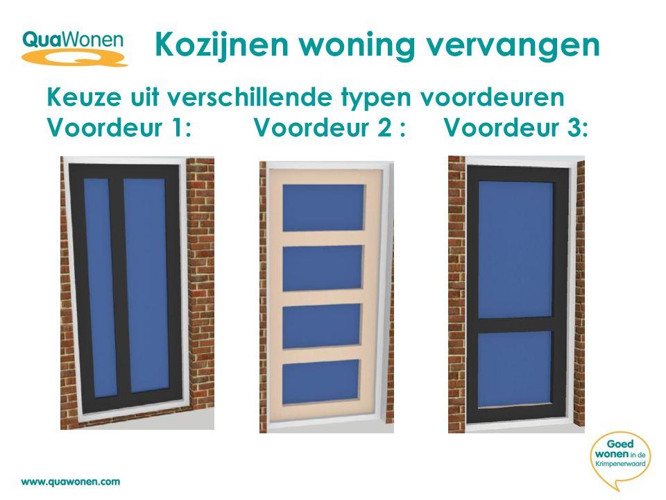 Kozijnen woning vervangen Kleurkeuze voordeuren: Optie 1: ivoorwit zoals bestaand Ral 1015 gladde structuur Optie 2 :antraciet grijs Ral 7016 houtstructuur