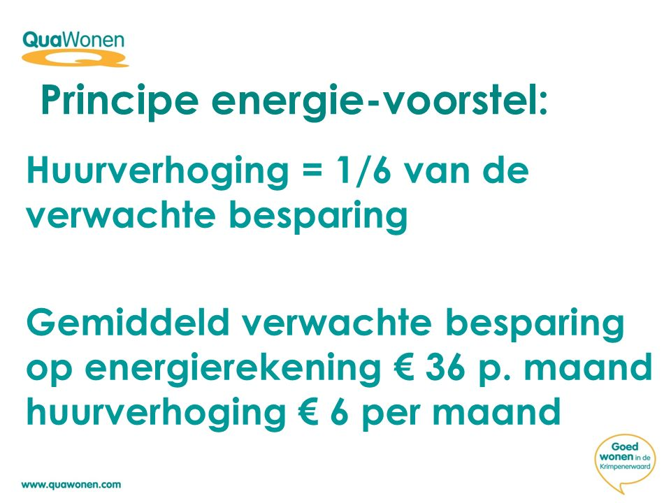 Huurverhoging = 1/6 van de verwachte besparing Gemiddeld verwachte besparing op energierekening € 36 p.