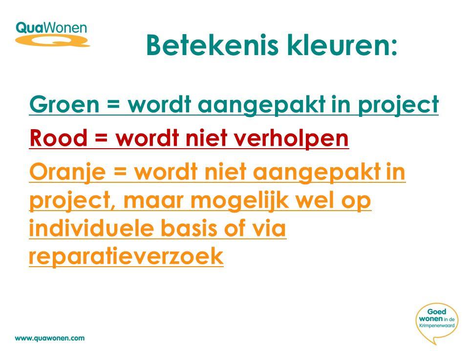 Betekenis kleuren: Groen = wordt aangepakt in project Rood = wordt niet verholpen Oranje = wordt niet aangepakt in project, maar mogelijk wel op individuele basis of via reparatieverzoek