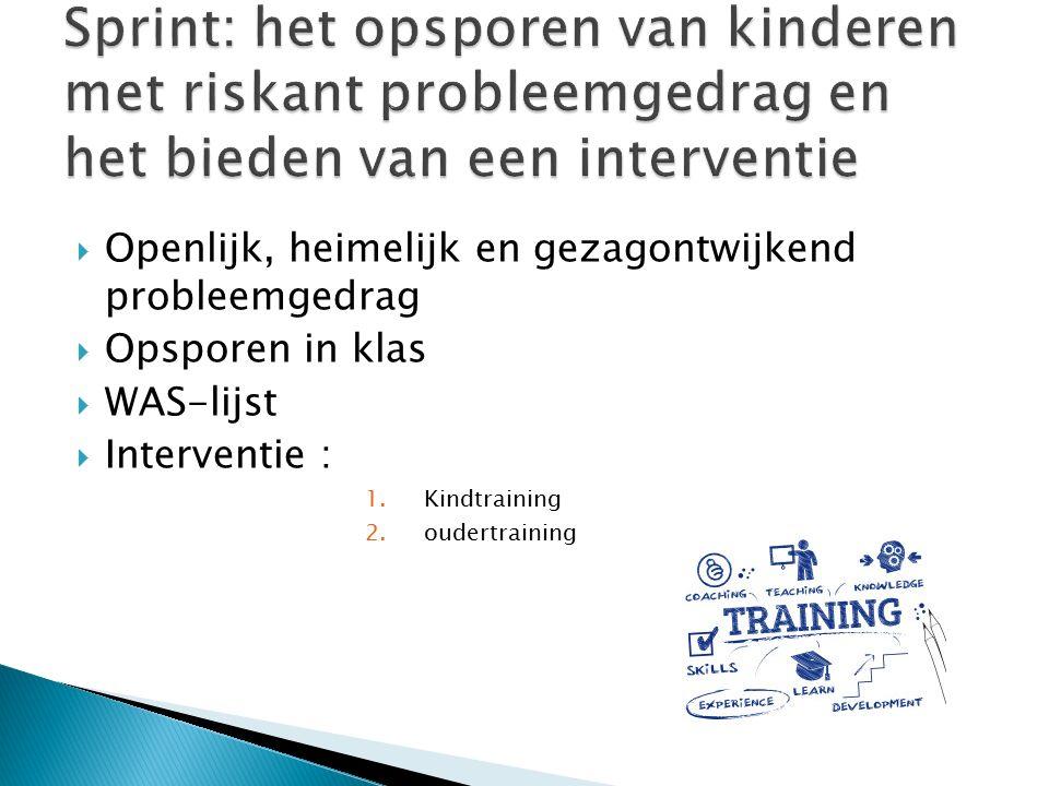  Openlijk, heimelijk en gezagontwijkend probleemgedrag  Opsporen in klas  WAS-lijst  Interventie : 1.Kindtraining 2.oudertraining