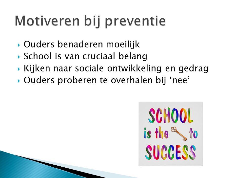  Ouders benaderen moeilijk  School is van cruciaal belang  Kijken naar sociale ontwikkeling en gedrag  Ouders proberen te overhalen bij 'nee'