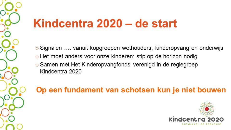 Kindcentra 2020 – de start o Signalen …. vanuit kopgroepen wethouders, kinderopvang en onderwijs o Het moet anders voor onze kinderen: stip op de hori