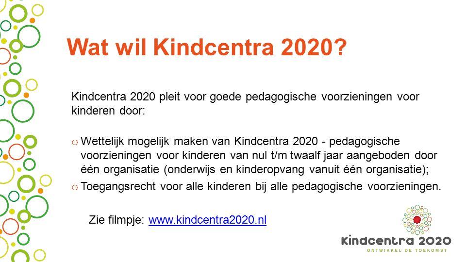 Wat wil Kindcentra 2020? Kindcentra 2020 pleit voor goede pedagogische voorzieningen voor kinderen door: o Wettelijk mogelijk maken van Kindcentra 202