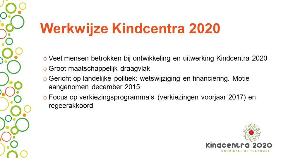 Werkwijze Kindcentra 2020 o Veel mensen betrokken bij ontwikkeling en uitwerking Kindcentra 2020 o Groot maatschappelijk draagvlak o Gericht op landelijke politiek: wetswijziging en financiering.