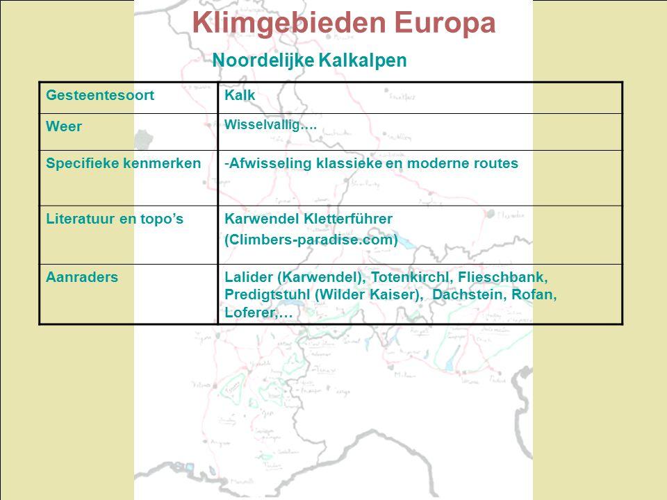 Klimgebieden Europa Noordelijke Kalkalpen GesteentesoortKalk Weer Wisselvallig…. Specifieke kenmerken-Afwisseling klassieke en moderne routes Literatu