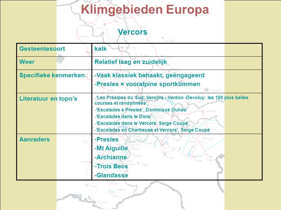 Klimgebieden Europa Vercors Gesteentesoortkalk WeerRelatief laag en zuidelijk Specifieke kenmerken-Vaak klassiek behaakt, geëngageerd -Presles = vooralpine sportklimmen Literatuur en topo's -'Les Préalpes du Sud: Vercors - Verdon -Devoluy: les 100 plus belles courses et randonnées', -'Escalades à Presles', Dominique Duhau -'Escalades dans le Diois' -'Escalades dans le Vercors Serge Coupé, -'Escalades en Chartreuse et Vercors', Serge Coupé Aanraders-Presles -Mt Aiguille -Archianne -Trois Becs -Glandasse