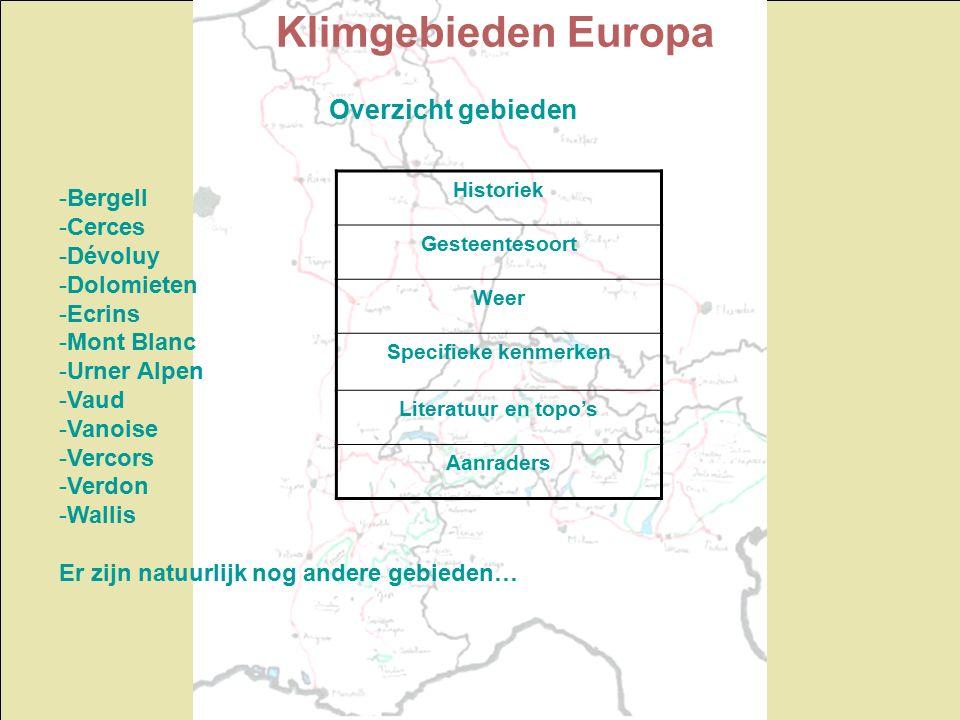 Klimgebieden Europa Overzicht gebieden Historiek Gesteentesoort Weer Specifieke kenmerken Literatuur en topo's Aanraders -Bergell -Cerces -Dévoluy -Dolomieten -Ecrins -Mont Blanc -Urner Alpen -Vaud -Vanoise -Vercors -Verdon -Wallis Er zijn natuurlijk nog andere gebieden…