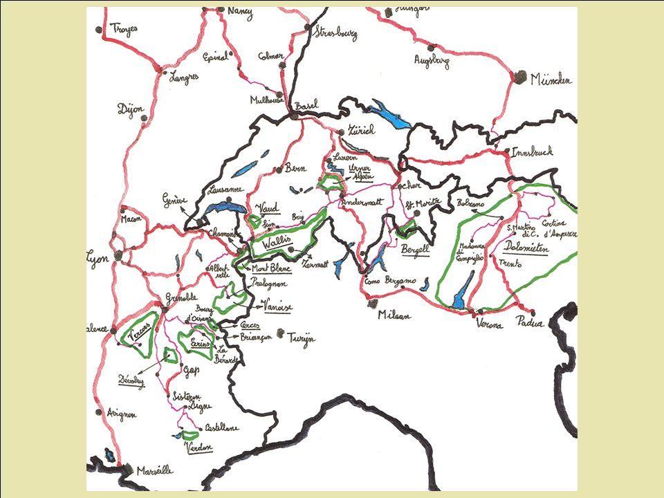 Klimgebieden Europa Mont Blanc GesteentesoortGraniet (kalk in vooralpen, Vallée de l'Arve) Weer hoogste massief, onbeschermd t.o.v.