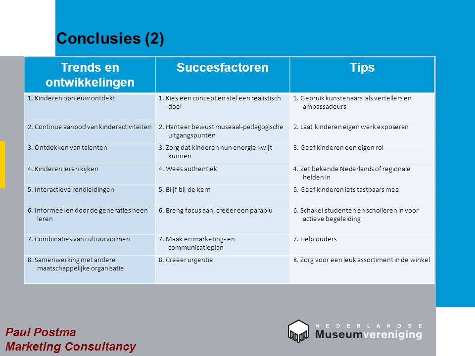 Conclusies (2) Paul Postma Marketing Consultancy Trends en ontwikkelingen SuccesfactorenTips 1.