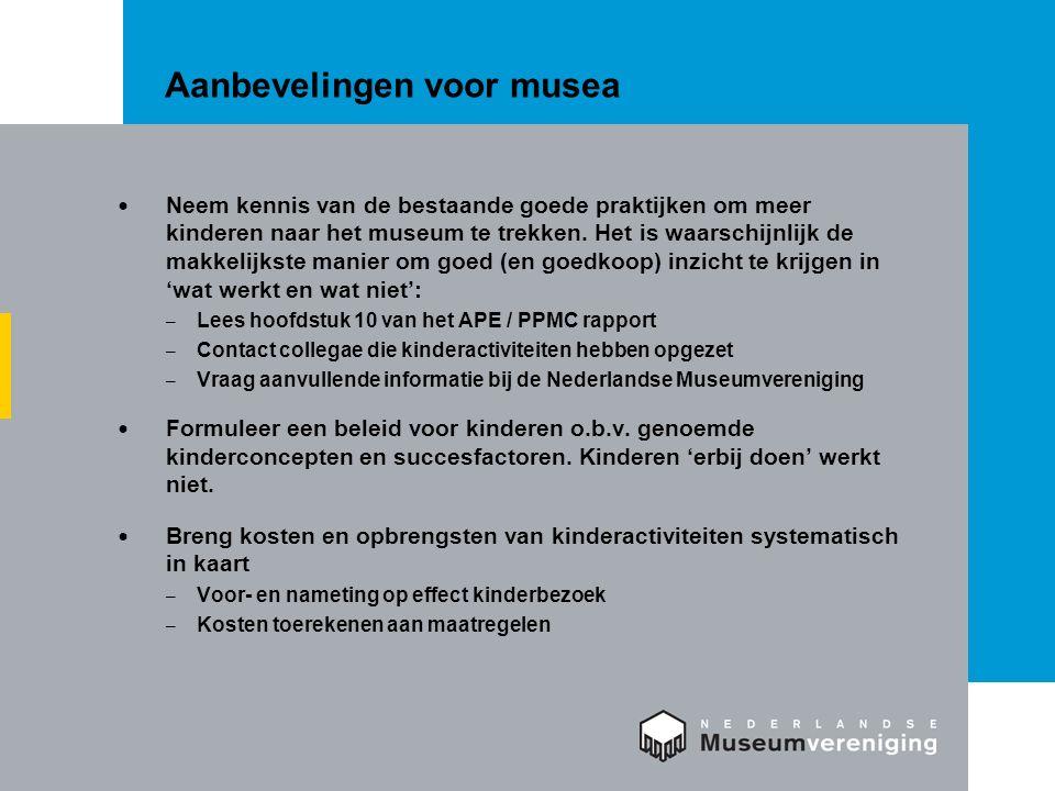 Aanbevelingen voor musea Neem kennis van de bestaande goede praktijken om meer kinderen naar het museum te trekken. Het is waarschijnlijk de makkelijk