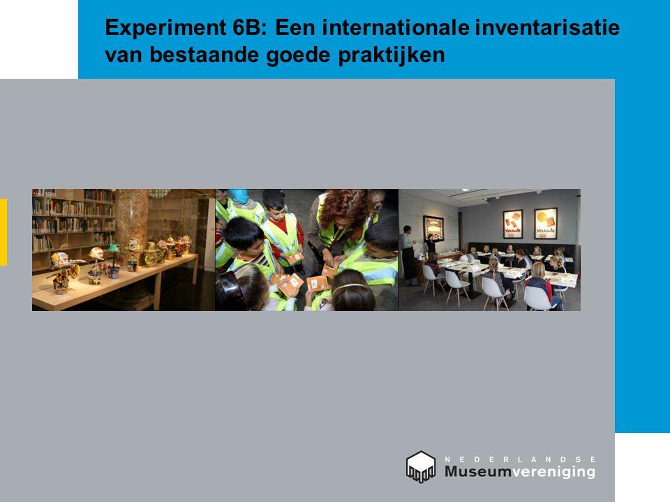 Experiment 6B: Een internationale inventarisatie van bestaande goede praktijken