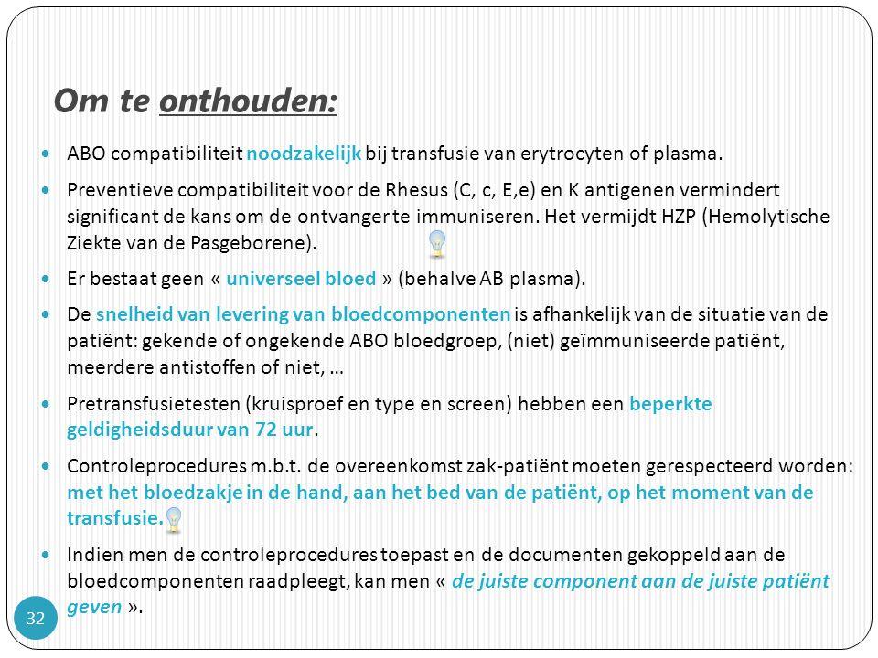 Om te onthouden: ABO compatibiliteit noodzakelijk bij transfusie van erytrocyten of plasma.