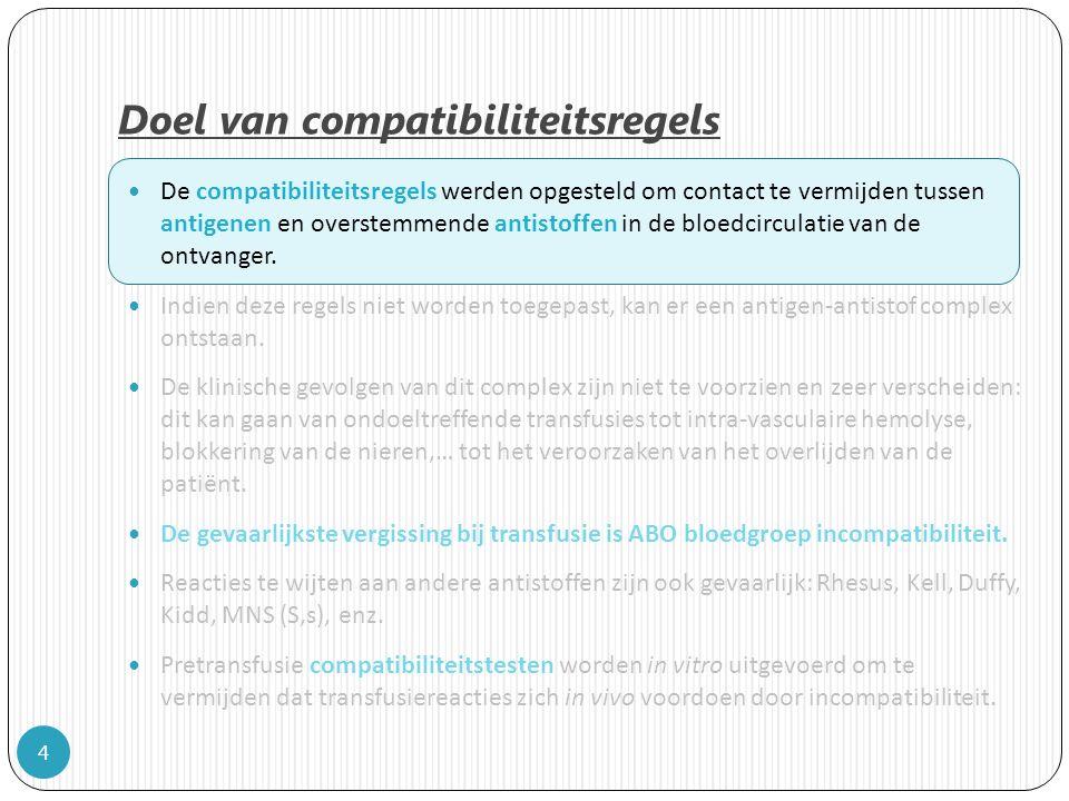 Doel van compatibiliteitsregels 4 De compatibiliteitsregels werden opgesteld om contact te vermijden tussen antigenen en overstemmende antistoffen in de bloedcirculatie van de ontvanger.