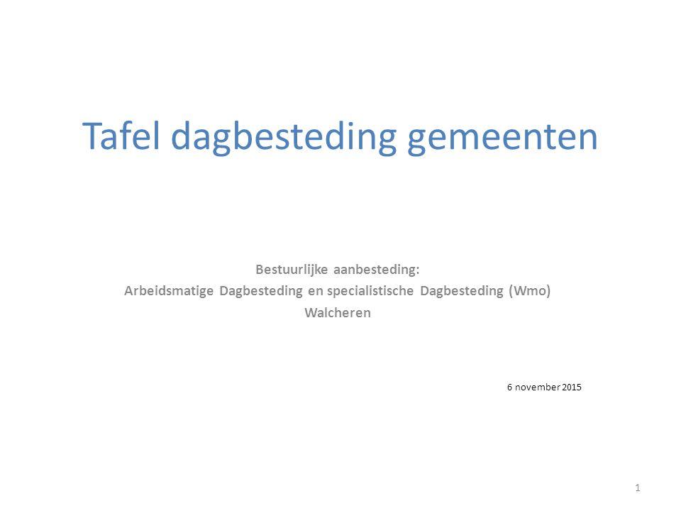 Tafel dagbesteding gemeenten Bestuurlijke aanbesteding: Arbeidsmatige Dagbesteding en specialistische Dagbesteding (Wmo) Walcheren 1 6 november 2015