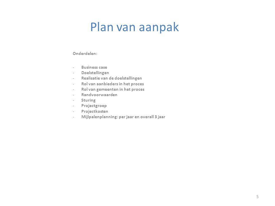Plan van aanpak 5 Onderdelen: -Business case -Doelstellingen -Realisatie van de doelstellingen -Rol van aanbieders in het proces -Rol van gemeenten in