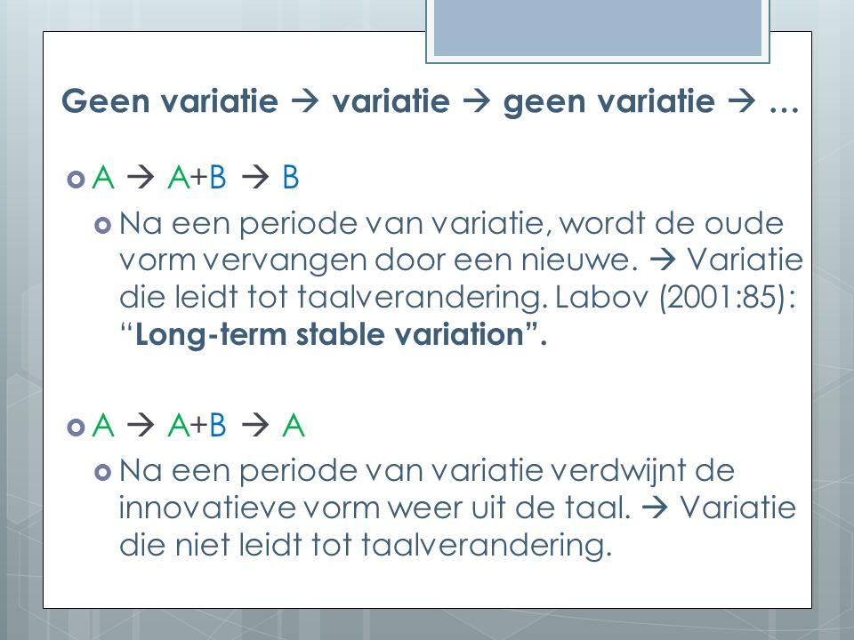 Geen variatie  variatie  geen variatie  … A  A+B  BA  A+B  B  Na een periode van variatie, wordt de oude vorm vervangen door een nieuwe.
