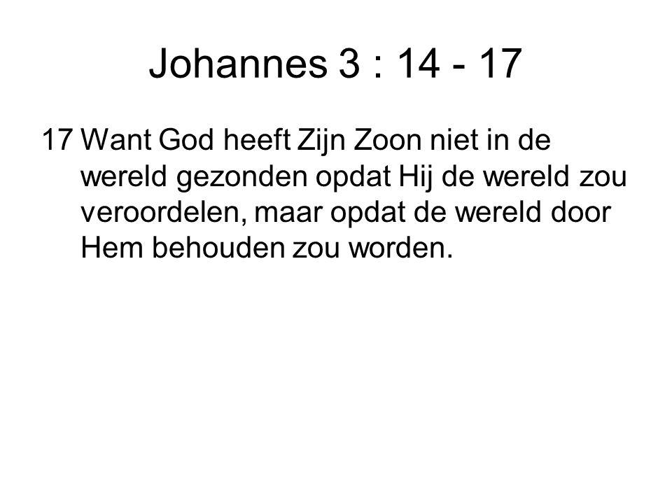Johannes 3 : 14 - 17 17Want God heeft Zijn Zoon niet in de wereld gezonden opdat Hij de wereld zou veroordelen, maar opdat de wereld door Hem behouden