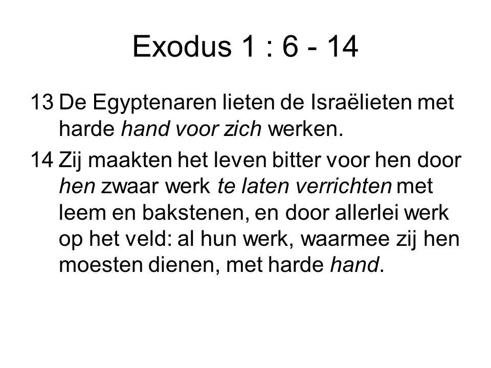 Exodus 1 : 6 - 14 13De Egyptenaren lieten de Israëlieten met harde hand voor zich werken. 14Zij maakten het leven bitter voor hen door hen zwaar werk