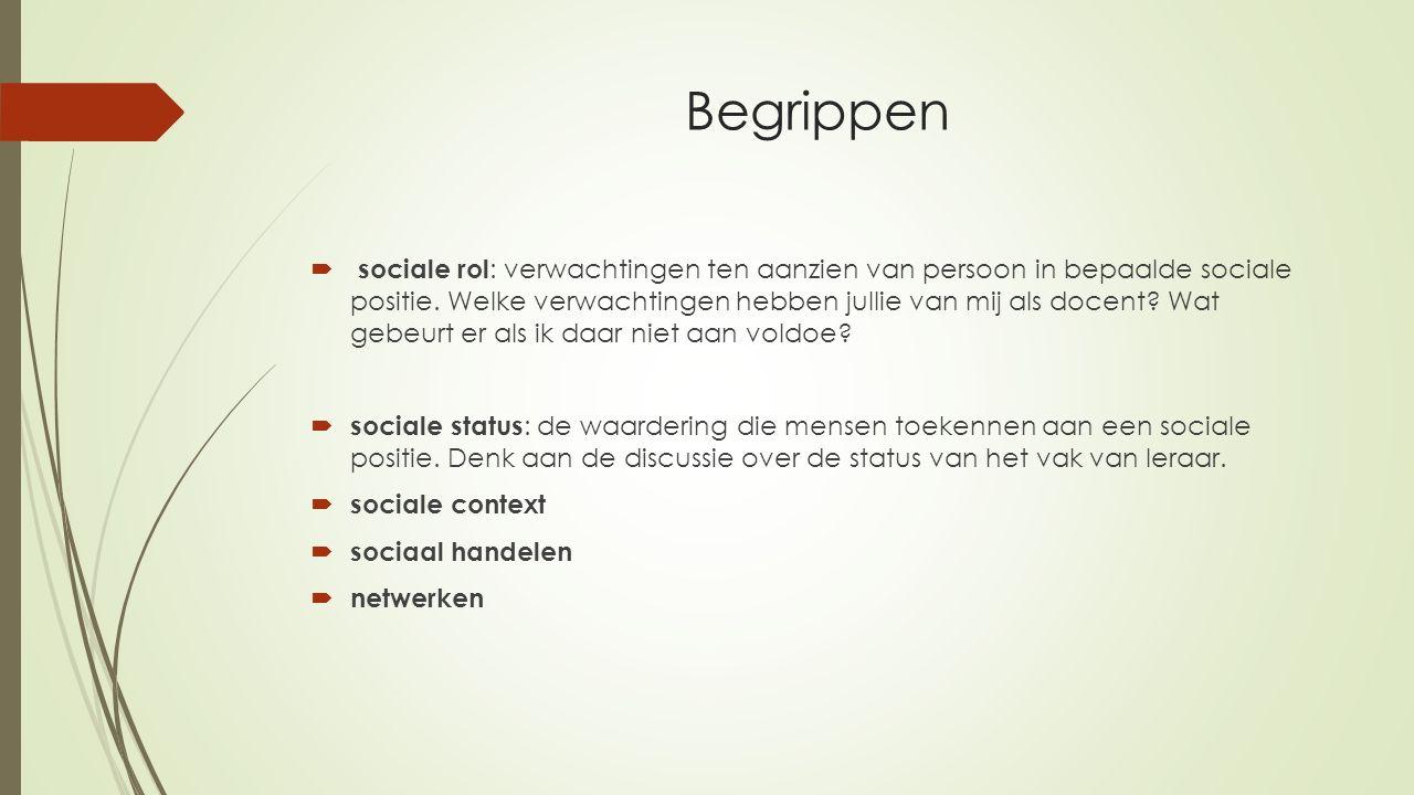 Begrippen  sociale rol : verwachtingen ten aanzien van persoon in bepaalde sociale positie. Welke verwachtingen hebben jullie van mij als docent? Wat