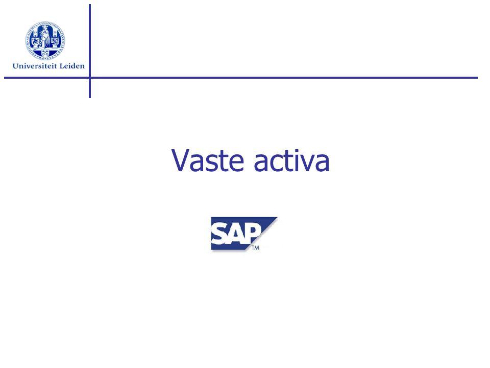 Inhoud Vaste activa raster Stamgegevens overzicht vaste activa Afschrijvingen (geboekte / prognose) Aanvullende rapportage(s) Vervolg traject Opgaven