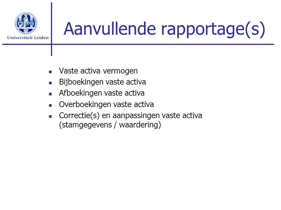 Aanvullende rapportage(s) Vaste activa vermogen Bijboekingen vaste activa Afboekingen vaste activa Overboekingen vaste activa Correctie(s) en aanpassingen vaste activa (stamgegevens / waardering)