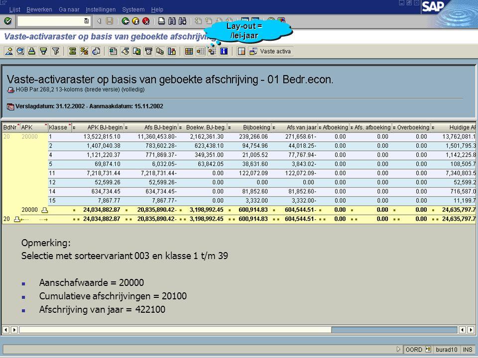 Opmerking: Selectie met sorteervariant 003 en klasse 1 t/m 39 Aanschafwaarde = 20000 Cumulatieve afschrijvingen = 20100 Afschrijving van jaar = 422100 Lay-out = /lei-jaar
