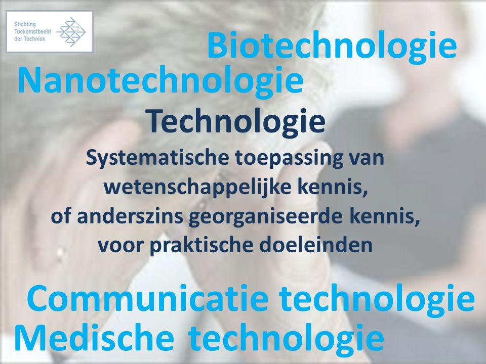Technologie Systematische toepassing van wetenschappelijke kennis, of anderszins georganiseerde kennis, voor praktische doeleinden Nanotechnologie Communicatie technologie Biotechnologie