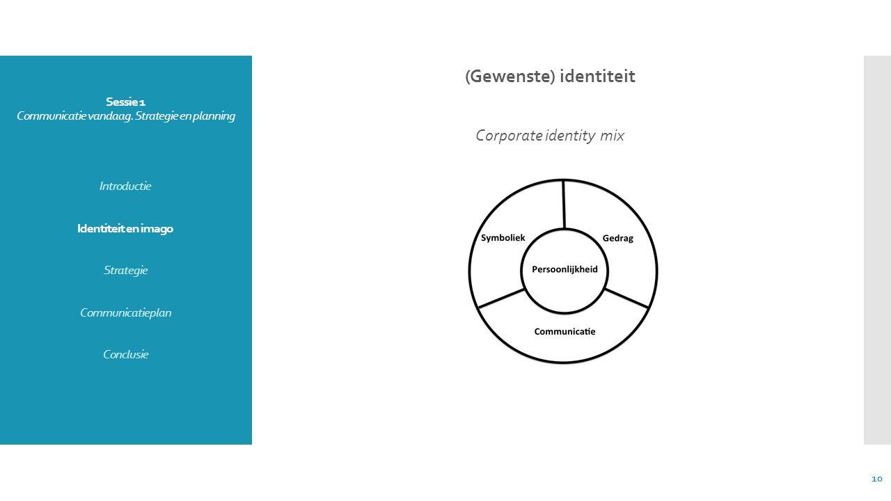 Sessie 1 Communicatie vandaag. Strategie en planning Introductie Identiteit en imago Strategie Communicatieplan Conclusie (Gewenste) identiteit Corpor